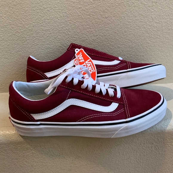 outlet store large discount official Vans Old Skool- burgundy unisex size 8.5 men- NWT NWT